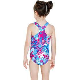 speedo Fantasy Flowers Essential All Over Bañador Niños, electric pink/neon blue/white